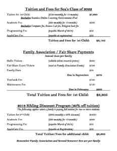 Tuition and Fees for Sea