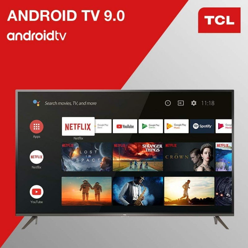 tcl 65ep640 tv 165cm tv 4k tv led hdr smart tv android tv integre wi fi google assistant