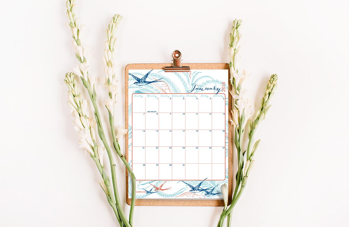 write on calendar 2018