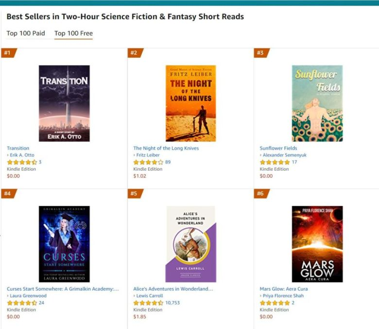 amazon bestseller science fiction fantasy short reads