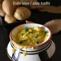 Dahi Aloo recipe , how to make punjabi dahi aloo , aloo kadhi