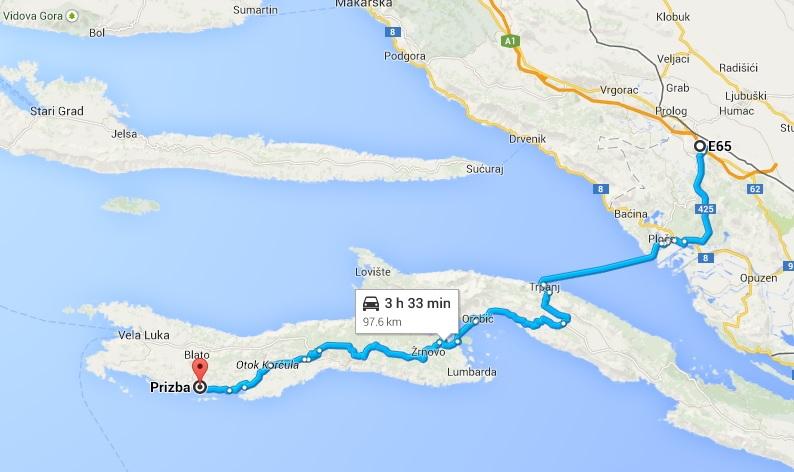 Route To Korcula Ferry Ploce Trpanj