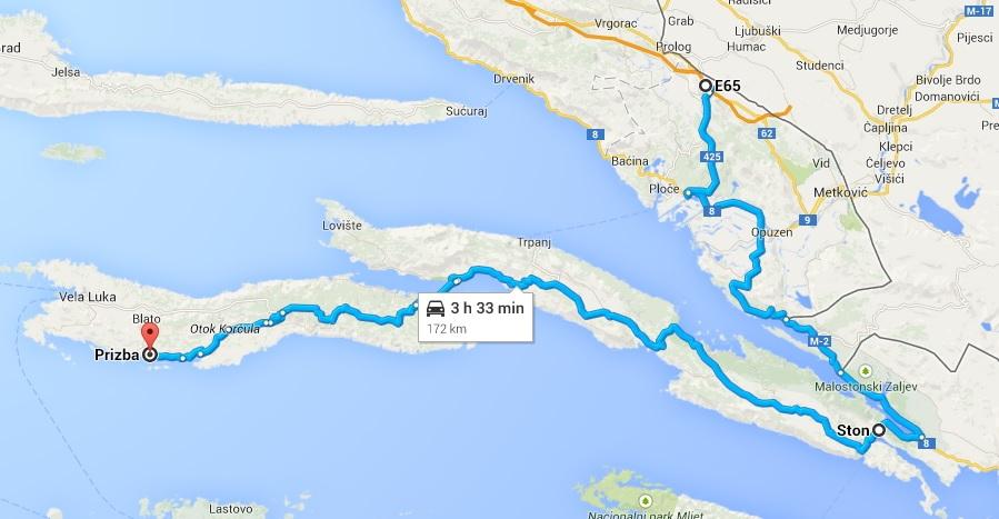 Orebic Domince Korcula Ferry Route