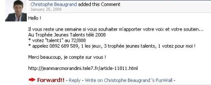 Christophe Beaugrand Jeune Talent