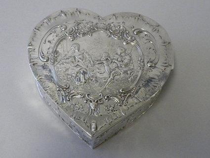 Antique German Sterling Silver Heart Box Circa 1900