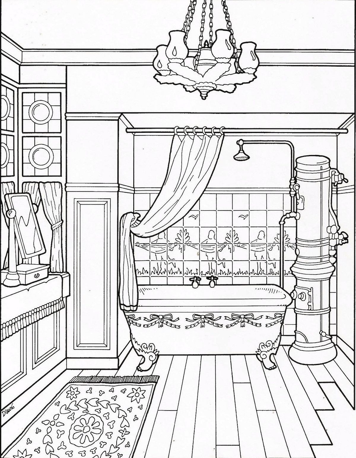 Interiors And Furniture Design Coloring Pages For Advanced