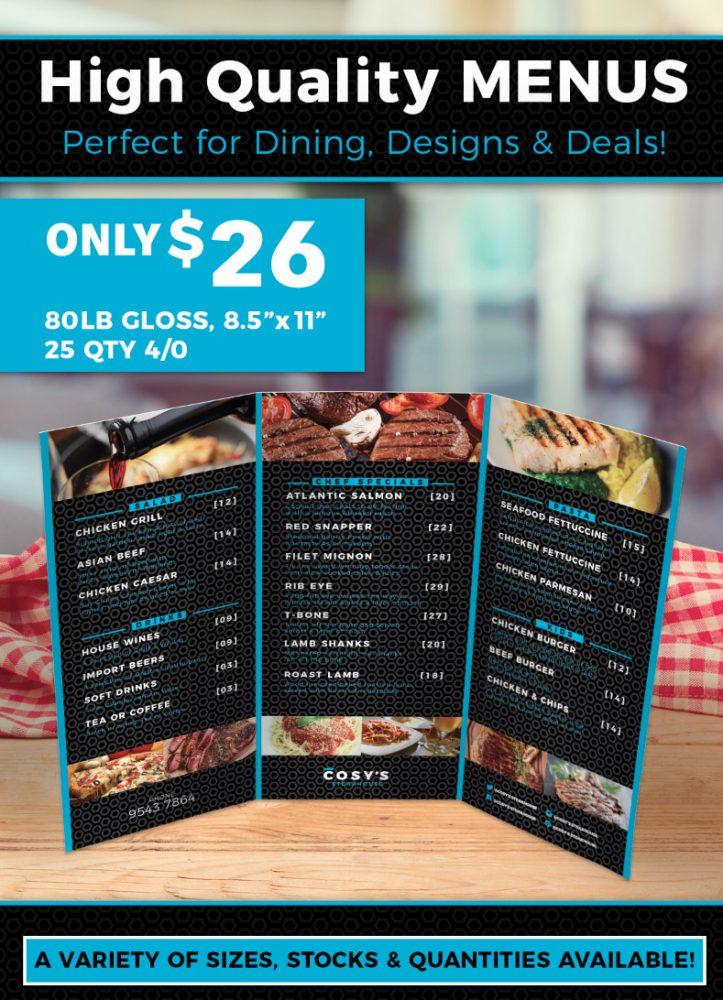 custom menu printing