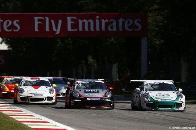 Porsche Mobil 1 Supercup Monza 2015 Come Ledogar (F) Jeffrey Schmidt (CH) Christopher Zöchling (A)