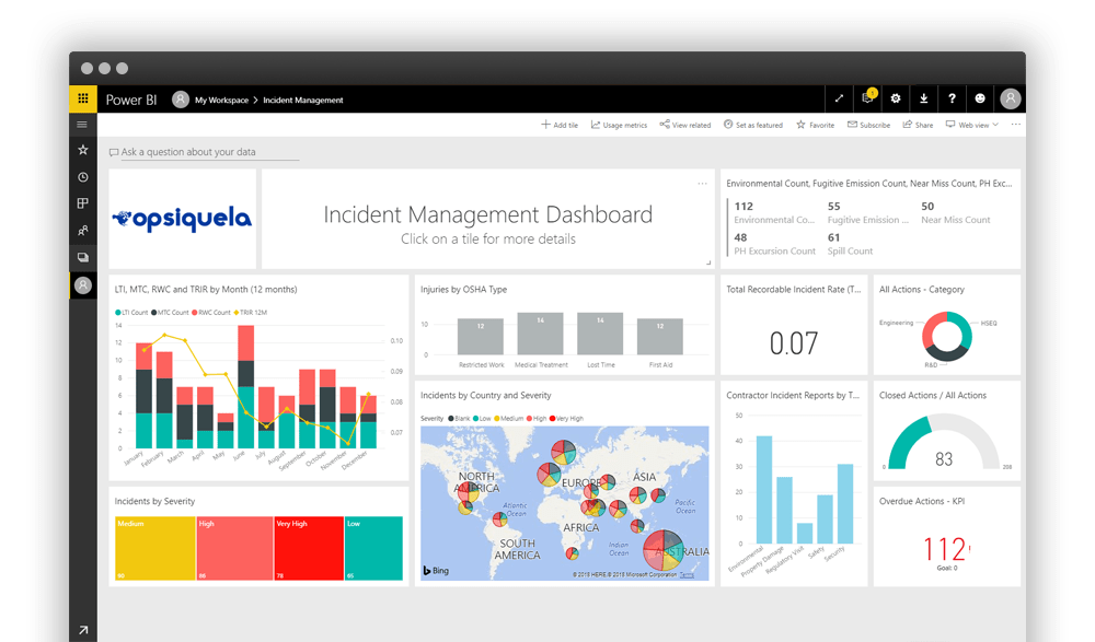 Pro-Sapien's Incident Management Software integrated with Power BI