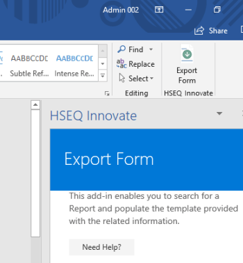 HSEQ Innovate Word Add-In