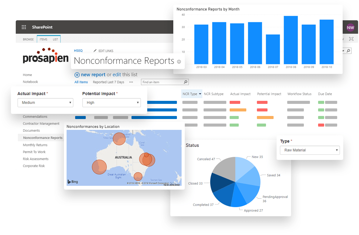 Nonconformance Management Software on Office 365