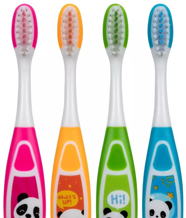 PRO-SYS® Sammie the Panda Kids Suction Cup Toothbrush for Toddlers and Preschoolers Ages 2-5, Soft (Pack of 4)