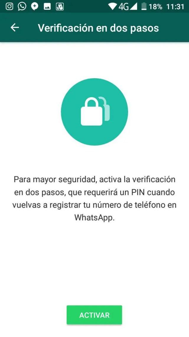 verificación en 02 pasos whatsapp