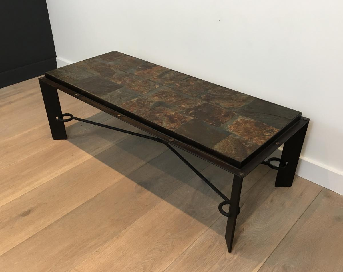 rare table basse en acier et fer forge