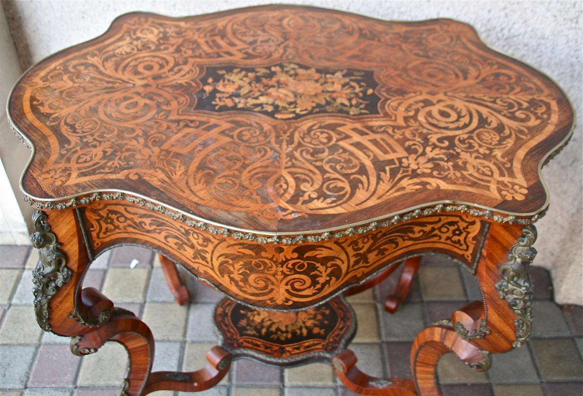 Pedestal Table Napoleon Iii Nineteenth Marquetry And Gilt