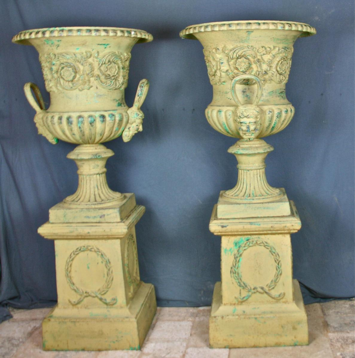 Very Large Pair Of Medici Vases Cast Iron On Pedestal