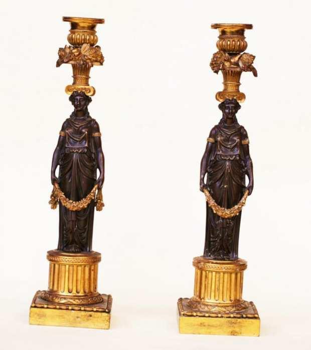 Paire De Chandeliers d'époque Empire. Bronze Doré Au Mercure