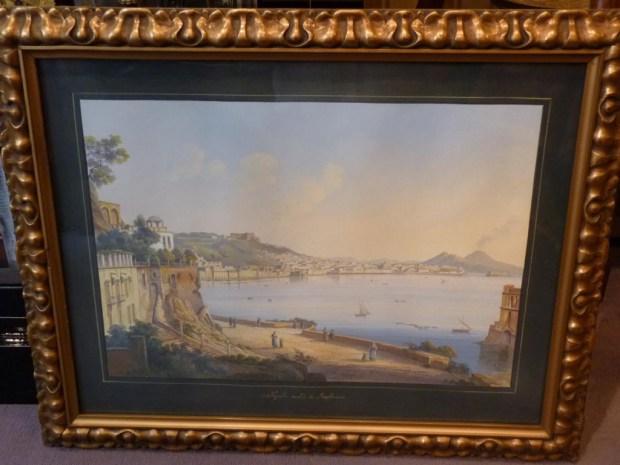 Souvenirs du Grand Tour gouache représentant La Baie de Naples. (c) Desarnaud, Proantic