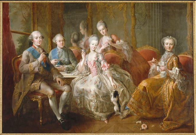 La Famille du duc de Penthièvre en 1768 dit aussi La Tasse de Chocolat.Jean-Baptiste Charpentier le Vieux, 1768, huile sur toile, château de Versailles.