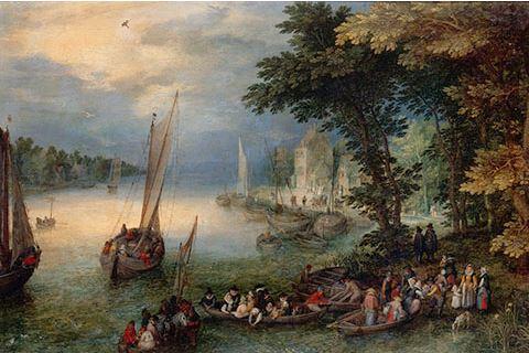 Jan I Brueghel dit Brueghel de Velours, Scène fluviale ou le débarquement