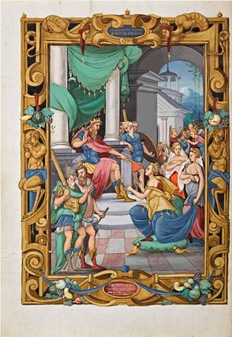 Heures du connétable Anne de Montmorency : le jugement de Salomon, 1549, parchemin, peinture sur papier, Bibliothèque et archives du château de Chantilly