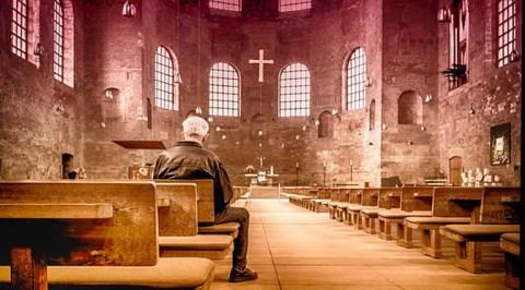 Man in European church