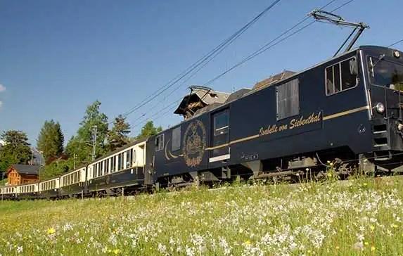 Panoramic Golden Pass Train Route through Switzerland