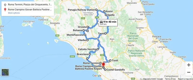 Lazio and Umbria road trip map with stops