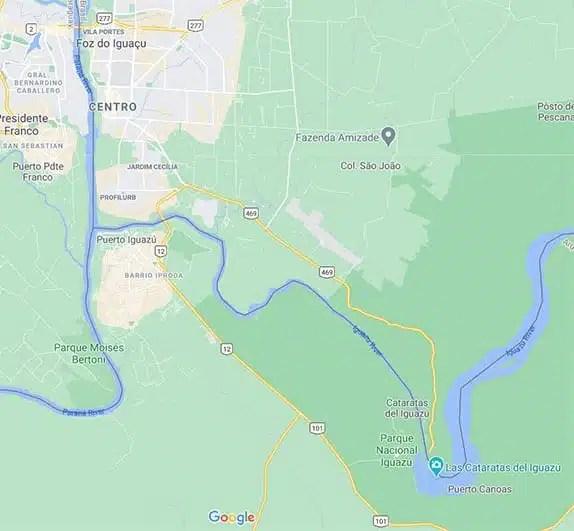 Map of the area in Argentina and Brazil around Parque Nacional Iguazú and Catarates del Iguazu and the towns ong Puerto Iguazú and Foz do Iguaçu.