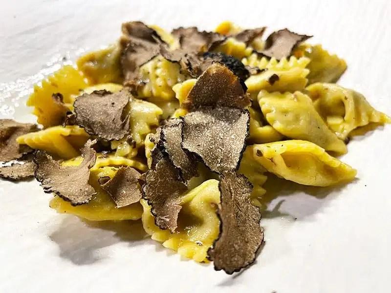 Ravioli al Plin from Piedmont with black truffles