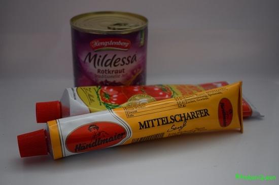 Brandnooz Box Dezember 2016 Mildessa Rotkraut mittelscharfer Senf Tomatenmark - Probenqueen
