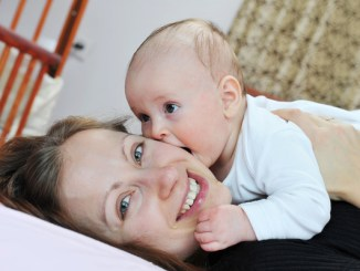 Jennifer and her baby after using probiotics