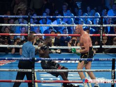 Tyson Fury dropping Deontay Wilder en route to a seventh round TKO victory. Photo Credit: Pro Boxing Fans