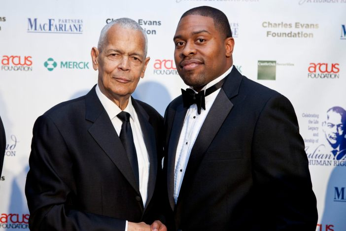 Julian Bond (left) and Timothy Lovelace during the Julian Bond Gala, a 2012 retirement event and fundraiser for the Julian Bond Chair at the University of Virginia.