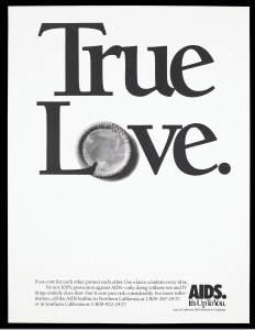 "A condom incorporated within the words ""True Love"""
