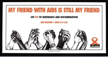 Four pairs of hands clasping (some black, some white), representing successful management of AIDS through equitable behaviour