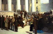 The image is of a scene on St. Louis Court House steps, January 1, 1861, when a group of abolitionists bid deliberately low to undermine the practice of selling slaves