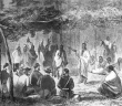 This drawing by J. Howland, originally printed in Harper's Weekly, depicts the council between representatives of the U.S. government and the Kiowa and Comanche tribes at Medicine Creek Lodge, Kansas, in 1867.