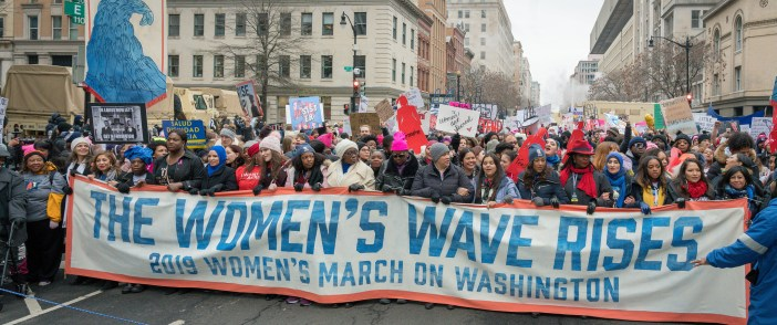 "A large group of women carry many signs, including a large banner that reads ""The Women's Wave Rises: 2019 Women's March on Washington."""