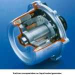 End-Turn-Kapselung auf flüssigkeitsgekühlten Generator
