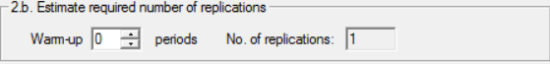 Estimated required number of replications