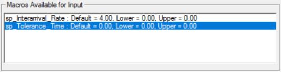Macros available for input in simrunner
