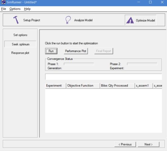 Seek optimum for optimizing model in simrunner