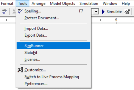 Tools menu simrunner option