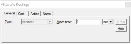 Properties dialog entity routing alternate route ProcessModel software