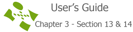 User's guide chapter 3 section 13 & 14