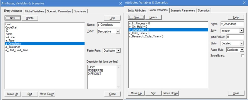 Attribute and Variable Windows in ProcessModel