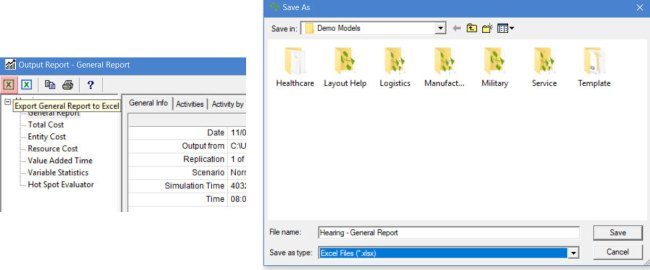 Export General Report button and window