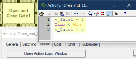 action logic in Open and Close Gate1 fromHold in a Storage