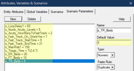 change scenario para default value in tirage